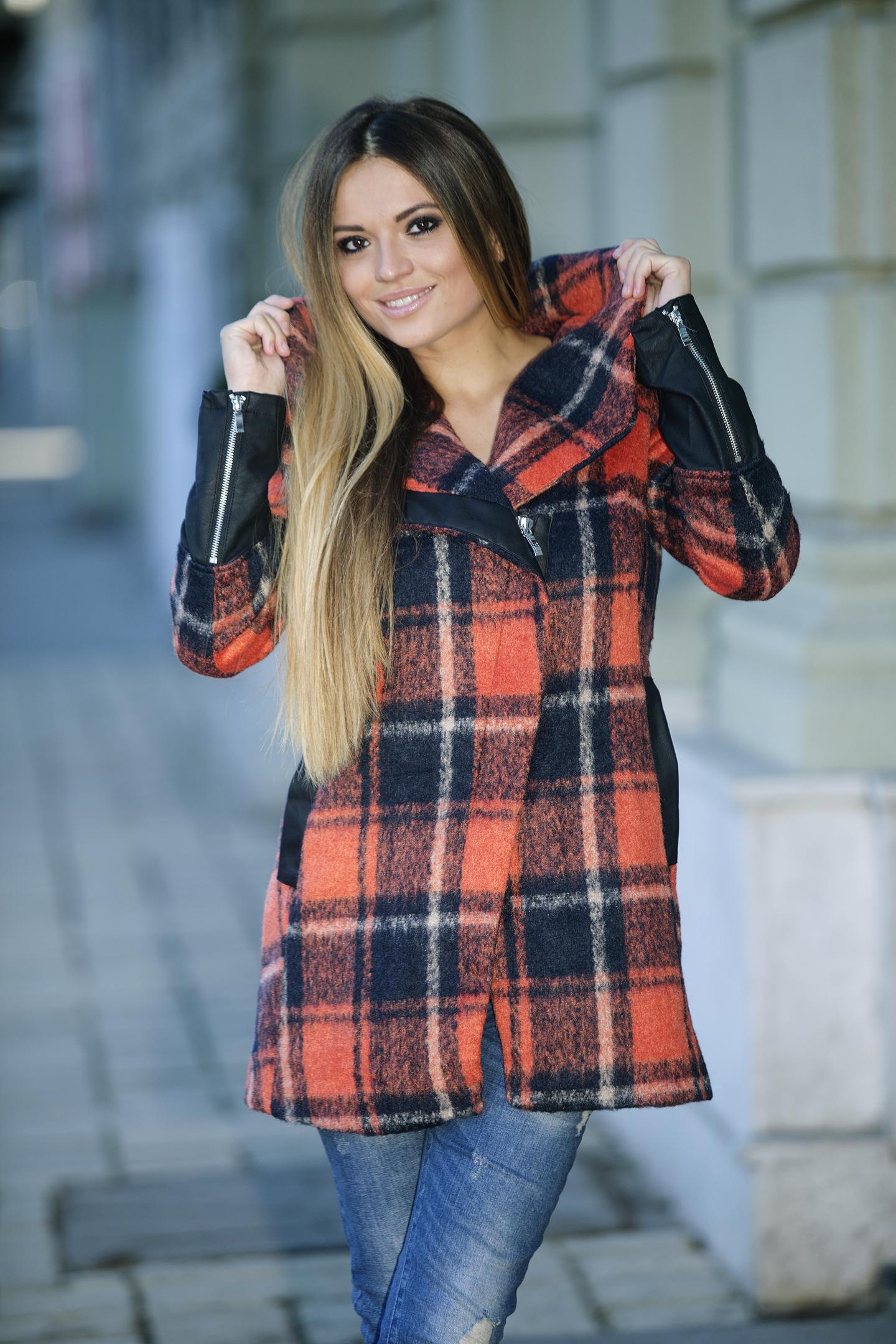 AMNESIA Műbőr ujjú kockás kabát Amnesia webáruház