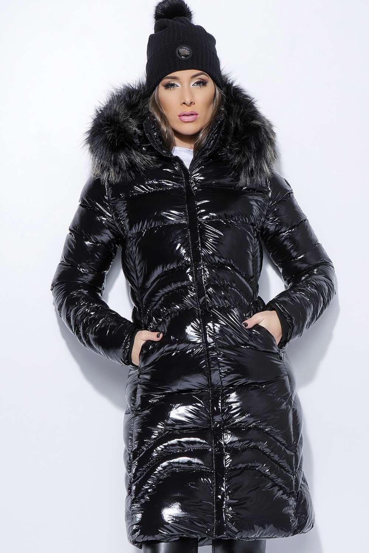 638d3897e6 AMNESIA Fényes hosszú kabát - Amnesia webáruház
