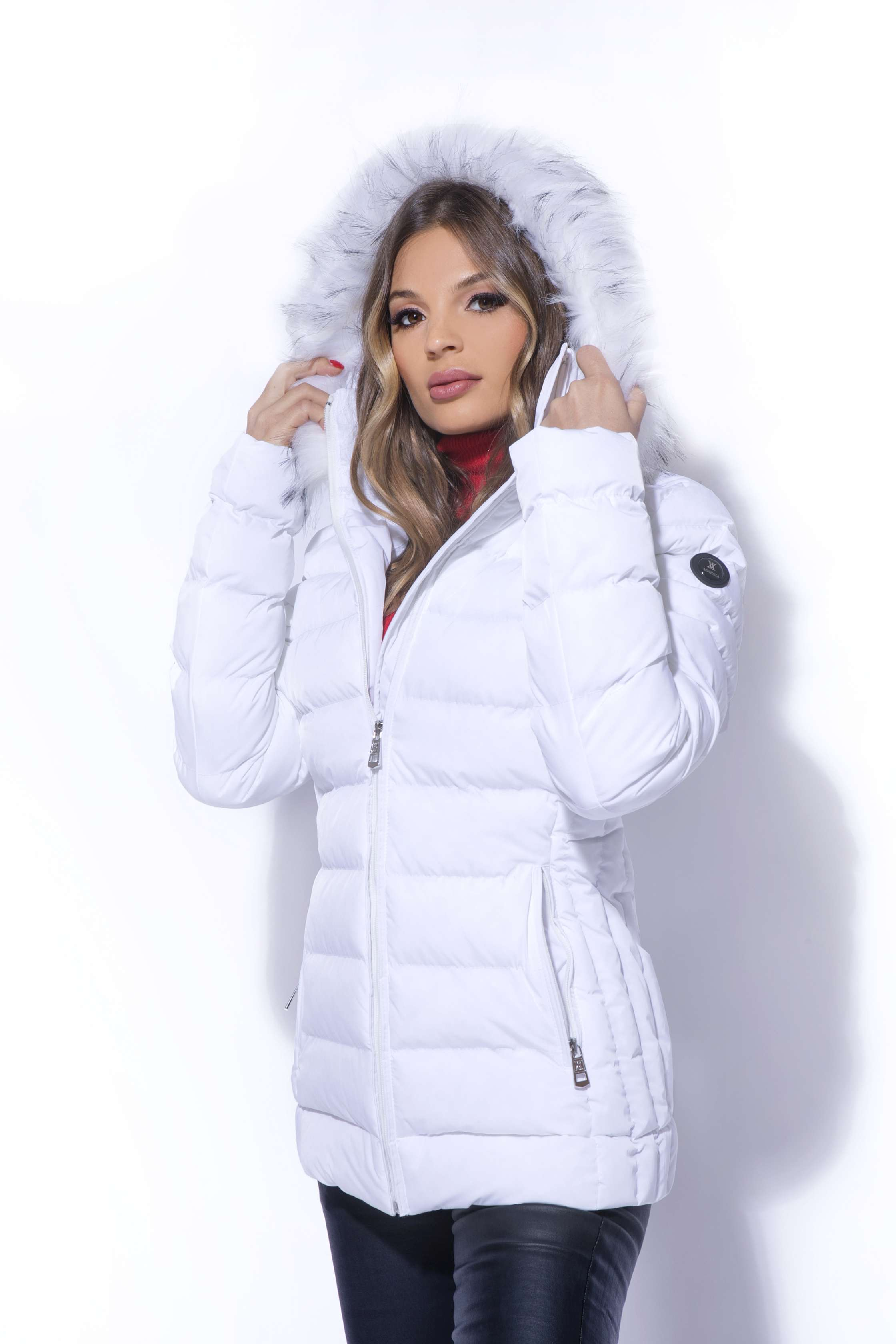 AMNESIA Oldalt betétes szőrmés kabát Amnesia webáruház
