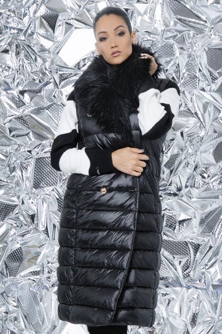 AMNESIA Zippes ujjú szőrmegalléros kabát/mellény fekete