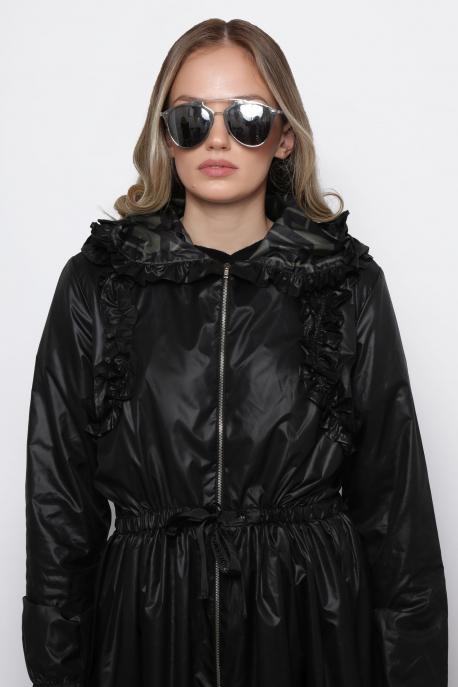 AMNESIA Jacalin kabát fekete/KHAKI
