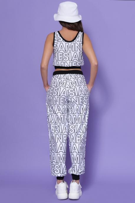AMNESIA Torino nadrág fehér/fekete betű