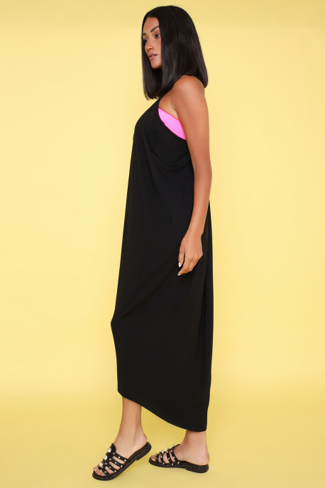 AMNESIA Ricell ruha+ top fekete/uv pink