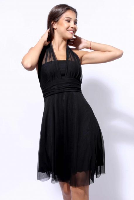 AMNESIA Vegyes ruha fekete tüll
