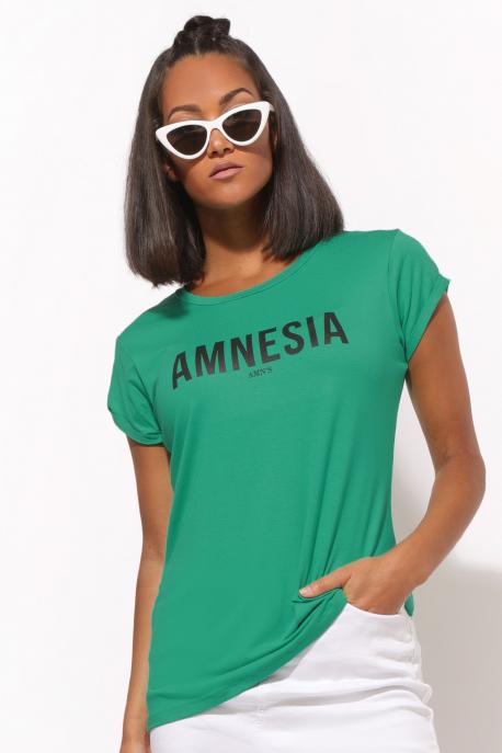 AMNESIA T-póló nyomott zöld