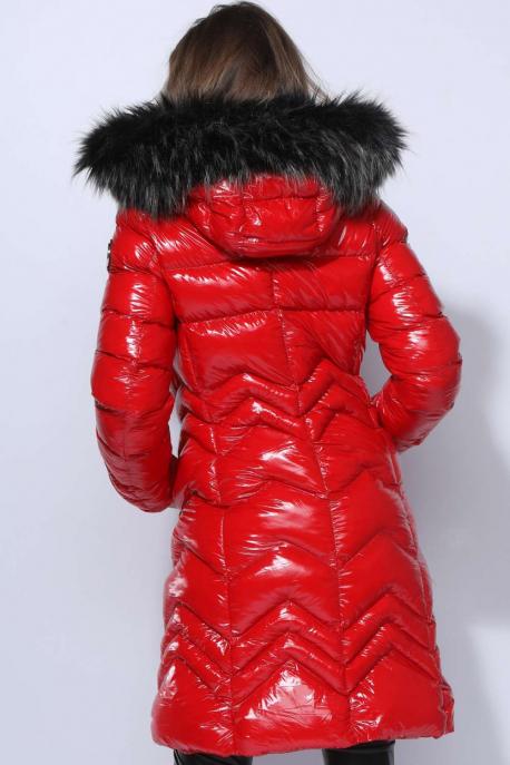 AMNESIA Fényes hosszú kabát