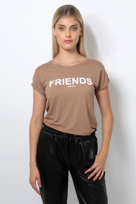 AMNESIA T-póló filmnyomott barna/friends