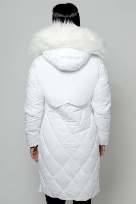AMNESIA Rombusz steppelt szőrmés kapucnis kabát fehér