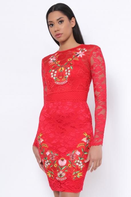 AMNESIA Akiro hímzett ruha piros