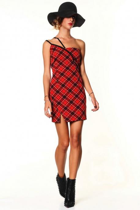 DENNY ROSE Piros kockás ruha