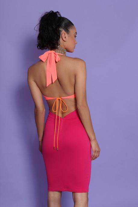 AMNESIA Monic ruha pink/UV korall
