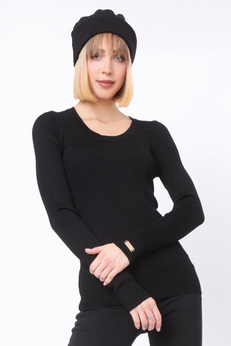 AMNESIA Kör nyakú pulóver fekete/tábla