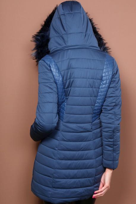 AMNESIA Bőrbetétes hosszú kabát