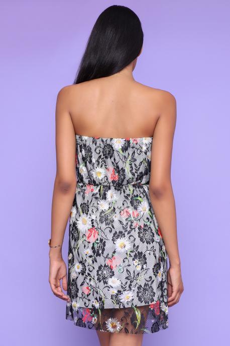 AMNESIA Regola ruha ekrü/fekete csipke mintás