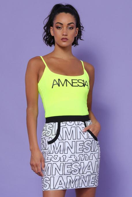 AMNESIA Jalape szoknya fehér/fekete betű