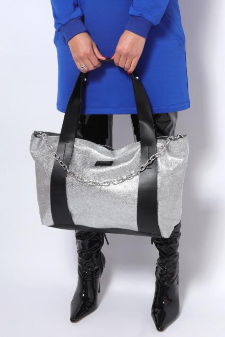 AMNESIA Láncos nagy táska ezüst