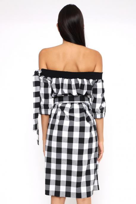 AMNESIA Jukatina ruha fekete/fehér kockás