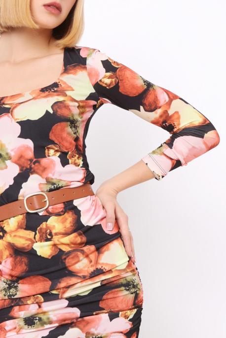 AMNESIA Gemira ruha fekete/virágminta
