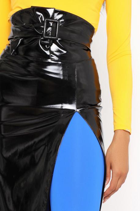 AMNESIA Mazaro lakk szoknya+öv fekete