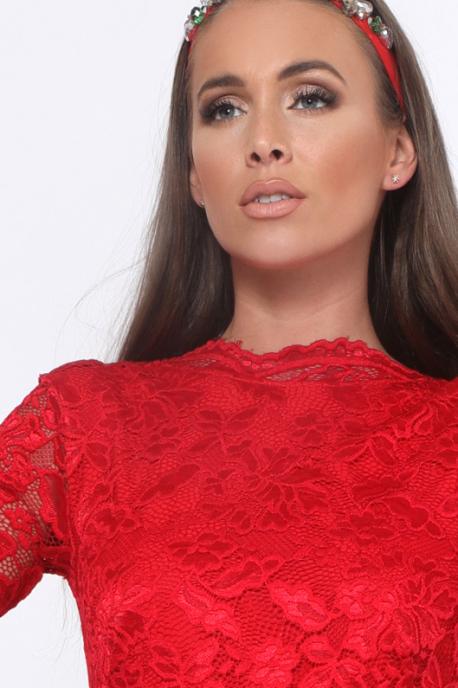 AMNESIA Appemi hátul hímzett ruha piros