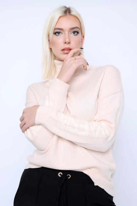 AMNESIA Garbós kötött pulóver bézs