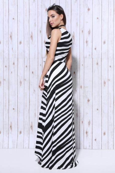 AMNESIA Csíkos átlapolt szoknyás ruha