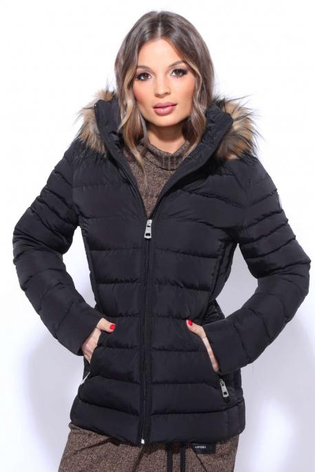 AMNESIA Oldalt betétes szőrmés kabát