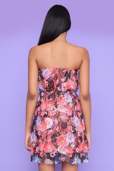 AMNESIA Regola ruha barack/fekete csipke mintás