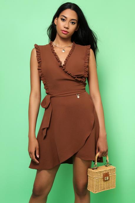 AMNESIA Jivoni rövid ruha barna