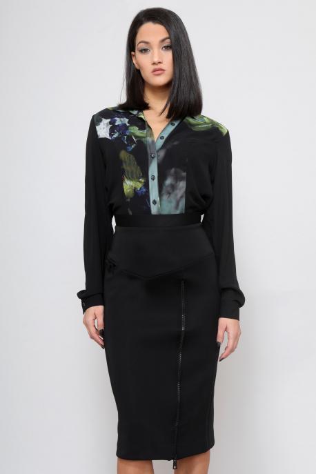 AMNESIA Fekete virágos blúz