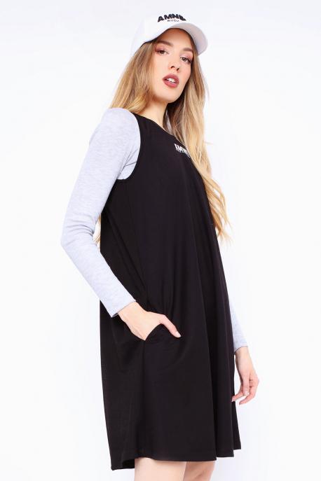 AMNESIA Tikiri ruha + Gotta felső fekete/szürke