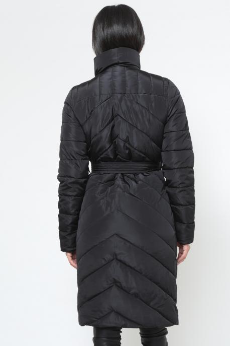 AMNESIA Oldalt zippes öves hosszú kabát fekete