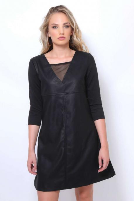 AMNESIA Sztormi necc+bőrbetétes ruha