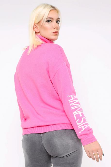 AMNESIA Garbós kötött pulóver rózsaszín