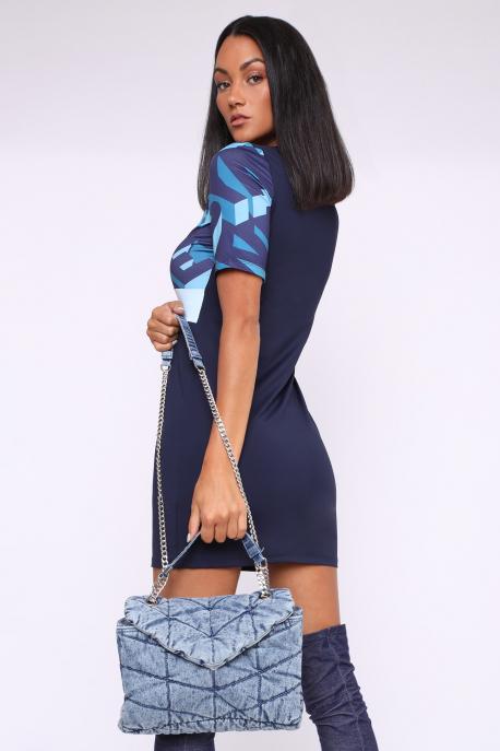 AMNESIA Ditrona tunika kék mintás