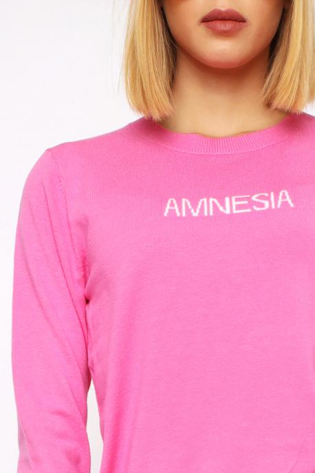 AMNESIA Vékony kerek nyakú pulóver rózsaszín