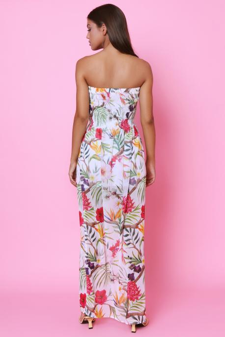AMNESIA Dorottya muszlin ruha ekrü/virágmintás