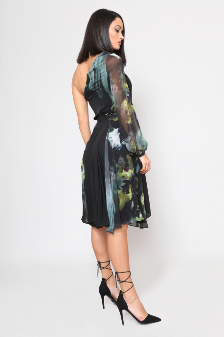 AMNESIA Fekete virágos ruha
