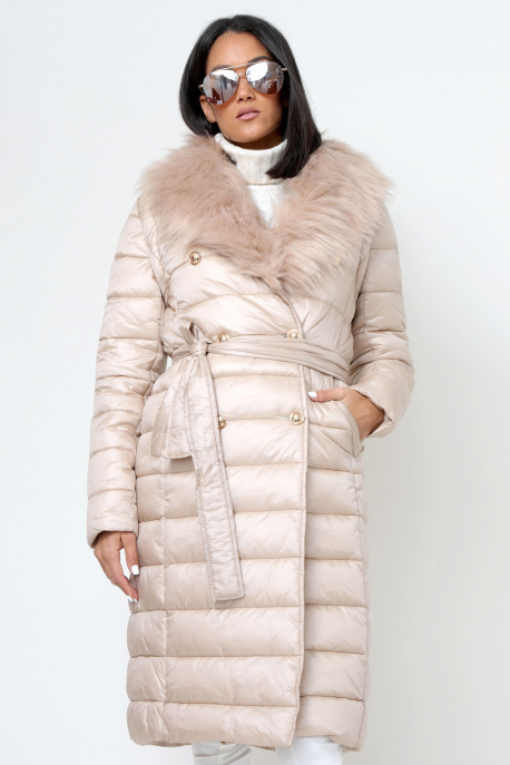 AMNESIA Zippes ujjú szőrmegalléros kabát/mellény púder
