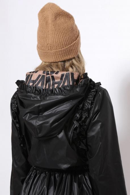 AMNESIA Jacalin kabát fekete/BARNA