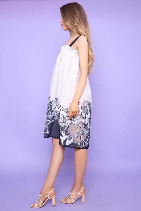 AMNESIA Freya ruha ekrü/kék virágmintás