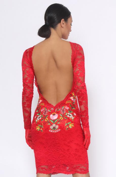 AMNESIA Apemi elöl-hátul hímzett ruha piros
