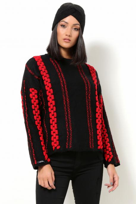 AMNESIA Vegyes pulóver fekete