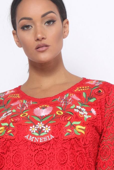 AMNESIA Didot hímzett ruha piros