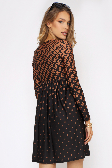 AMNESIA Tiosza ruha fekete/barna