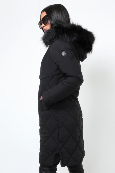 AMNESIA Rombusz steppelt szőrmés kapucnis kabát fekete