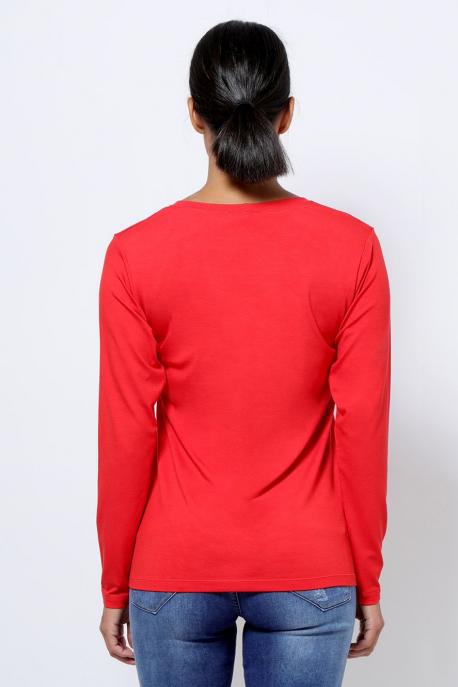AMNESIA T-póló hosszú ujjú piros city girl