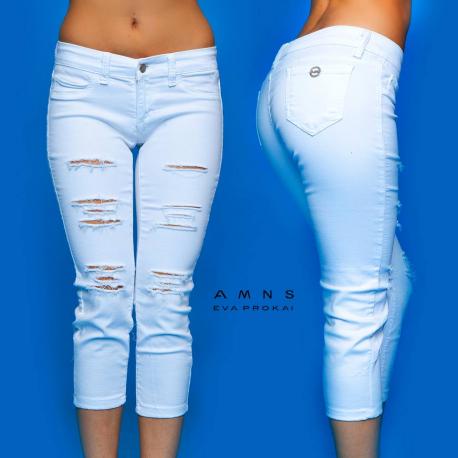 AMNESIA Fehér szaggatott nadrág