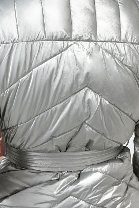 AMNESIA Oldalt zippes öves hosszú kabát szürke