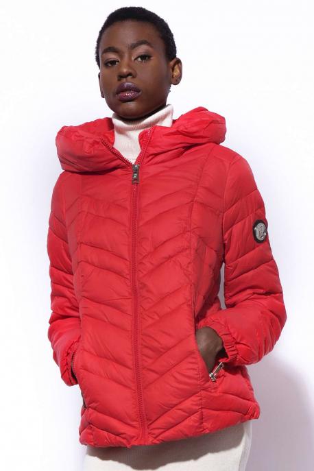 AMNESIA Zippes kapucnis rövid kabát